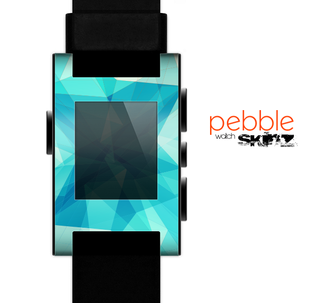 The Vector Abstract Shaped Blue Overlay V2 Skin for the Pebble SmartWatch for the Pebble Watch