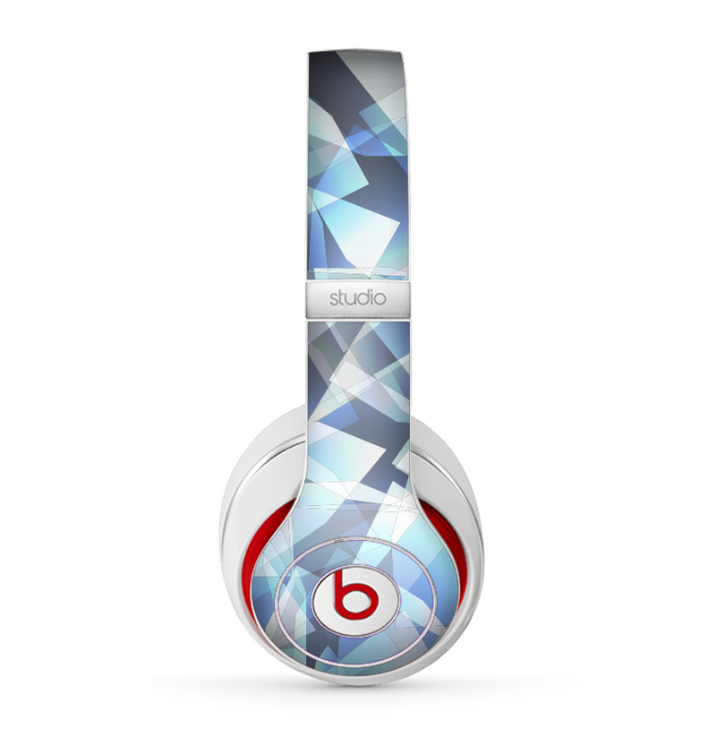 The Vector Abstract Shaped Blue Overlay V3 Skin for the Beats by Dre Studio (2013+ Version) Headphones