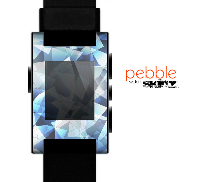 The Vector Abstract Shaped Blue-Orange Overlay Skin for the Pebble SmartWatch for the Pebble Watch