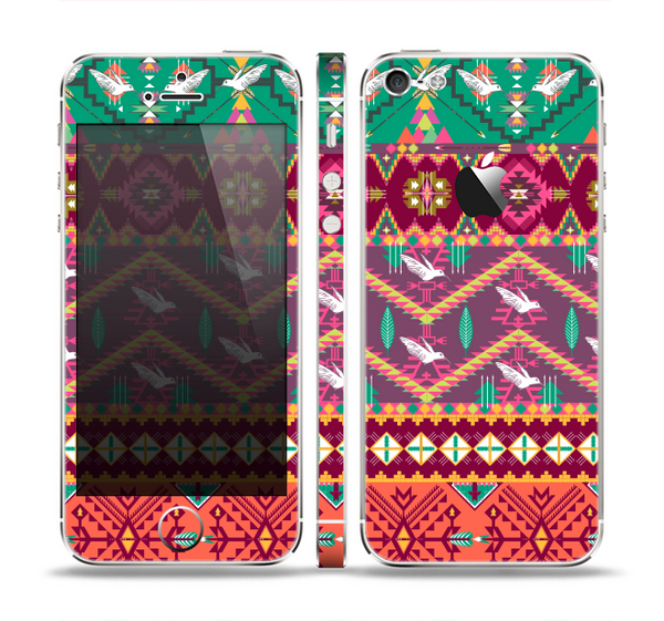 The Vector Aztec Birdy Pattern Skin Set for the Apple iPhone 5