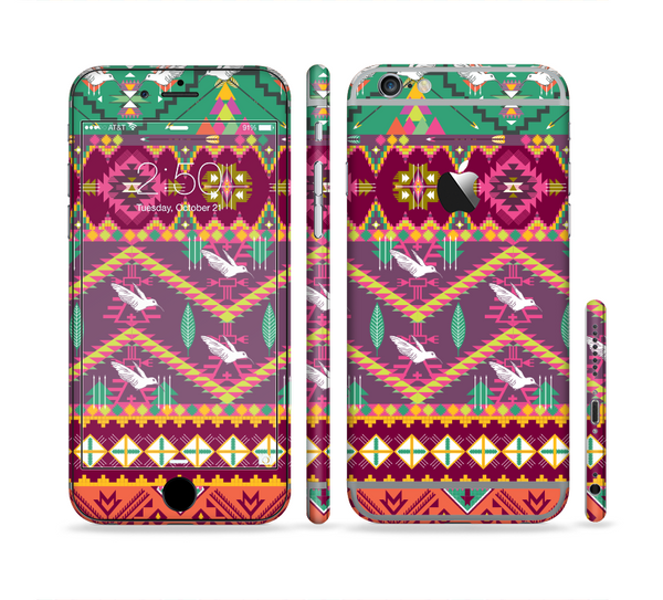 The Vector Aztec Birdy Pattern Sectioned Skin Series for the Apple iPhone 6 Plus