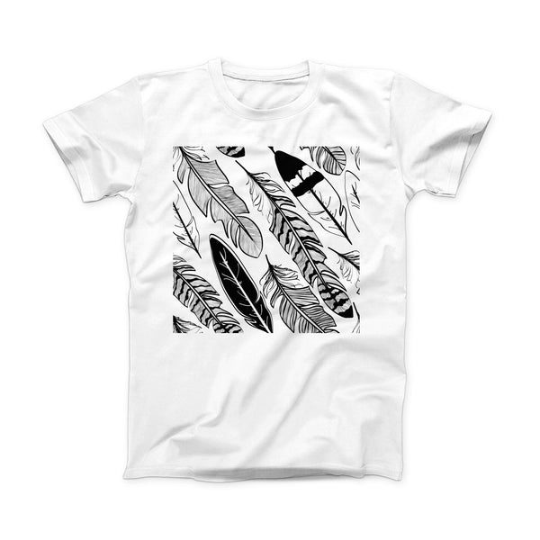 The Vector Black and White Feathers ink-Fuzed Front Spot Graphic Unisex Soft-Fitted Tee Shirt