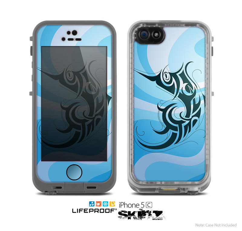 The Vector Blue Abstract Fish Skin for the Apple iPhone 5c LifeProof Case