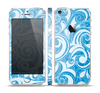 The Vector Blue Abstract Swirly Design Skin Set for the Apple iPhone 5