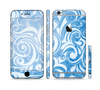 The Vector Blue Abstract Swirly Design Sectioned Skin Series for the Apple iPhone 6
