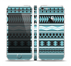 The Vector Blue & Black Aztec Pattern V2 Skin Set for the Apple iPhone 5