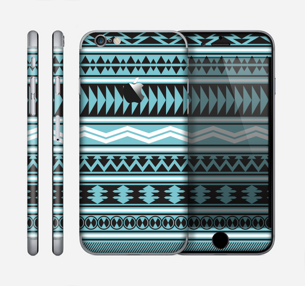 The Vector Blue & Black Aztec Pattern V2 Skin for the Apple iPhone 6