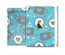 The Vector Blue & Gray Coffee Hearts Pattern Full Body Skin Set for the Apple iPad Mini 3