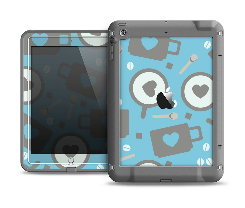 The Vector Blue & Gray Coffee Hearts Pattern Apple iPad Air LifeProof Fre Case Skin Set