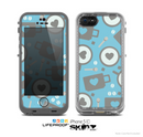 The Vector Blue & Gray Coffee Hearts Pattern Skin for the Apple iPhone 5c LifeProof Case