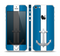 The Vector Blue and Gray Anchor with White Stripe Skin Set for the Apple iPhone 5