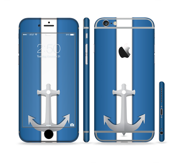 The Vector Blue and Gray Anchor with White Stripe Sectioned Skin Series for the Apple iPhone 6