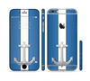 The Vector Blue and Gray Anchor with White Stripe Sectioned Skin Series for the Apple iPhone 6 Plus