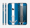 The Vector Blue and Gray Anchor with White Stripe Skin for the Apple iPhone 6