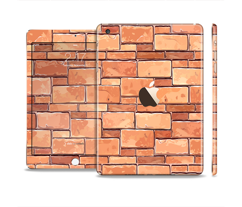 The Vector Brick Wall Slabs Full Body Skin Set for the Apple iPad Mini 3