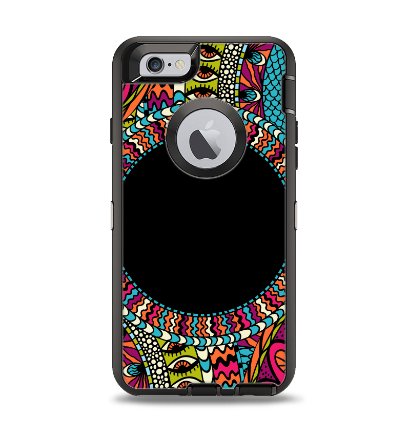 The Vector Colored Aztec Pattern WIth Black Connect Point Apple iPhone 6 Otterbox Defender Case Skin Set
