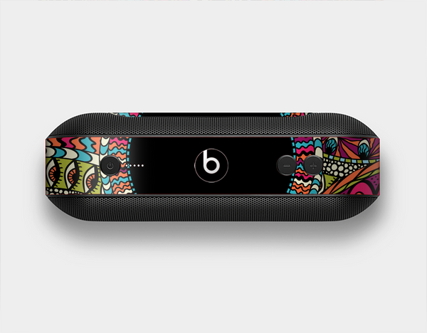 The Vector Colored Aztec Pattern WIth Black Connect Point Skin Set for the Beats Pill Plus