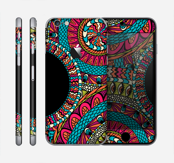 The Vector Colored Aztec Pattern WIth Black Connect Point Skin for the Apple iPhone 6
