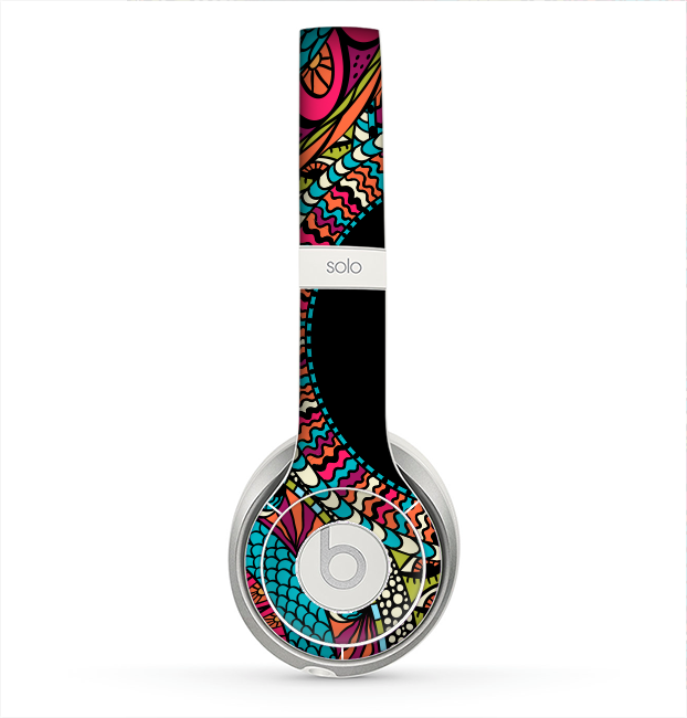 The Vector Colored Aztec Pattern WIth Black Connect Point Skin for the Beats by Dre Solo 2 Headphones