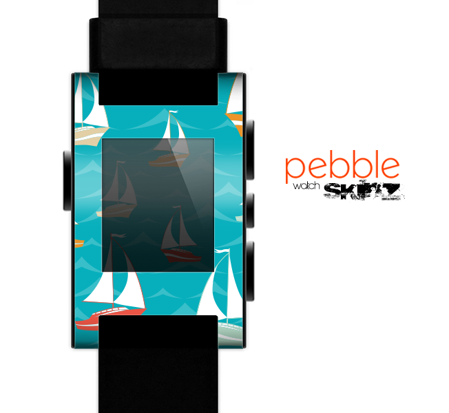 The Vector Colored Sailboats Skin for the Pebble SmartWatch