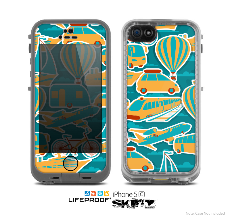 The Vector Colored Transportation Clipart Skin for the Apple iPhone 5c LifeProof Case