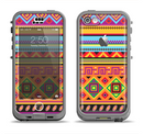 The Vector Gold & Purple Aztec Pattern V32 Apple iPhone 5c LifeProof Nuud Case Skin Set