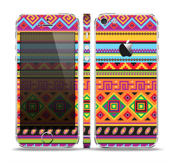 The Vector Gold & Purple Aztec Pattern V32 Skin Set for the Apple iPhone 5