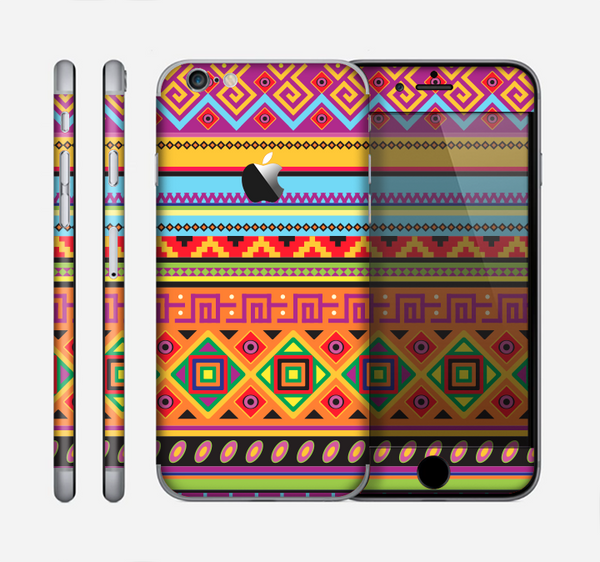 The Vector Gold & Purple Aztec Pattern V32 Skin for the Apple iPhone 6