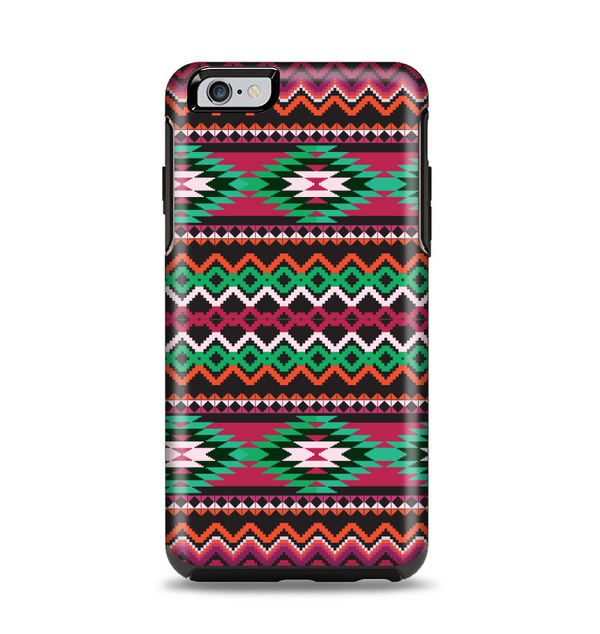 The Vector Green & Pink Aztec Pattern Apple iPhone 6 Plus Otterbox Symmetry Case Skin Set