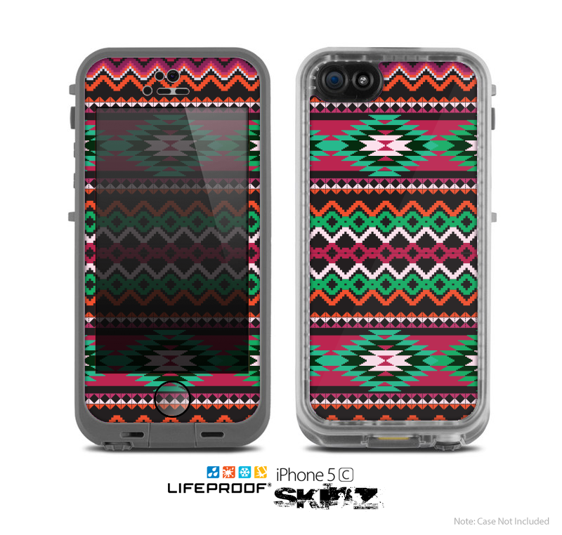 The Vector Green & Pink Aztec Pattern Skin for the Apple iPhone 5c LifeProof Case