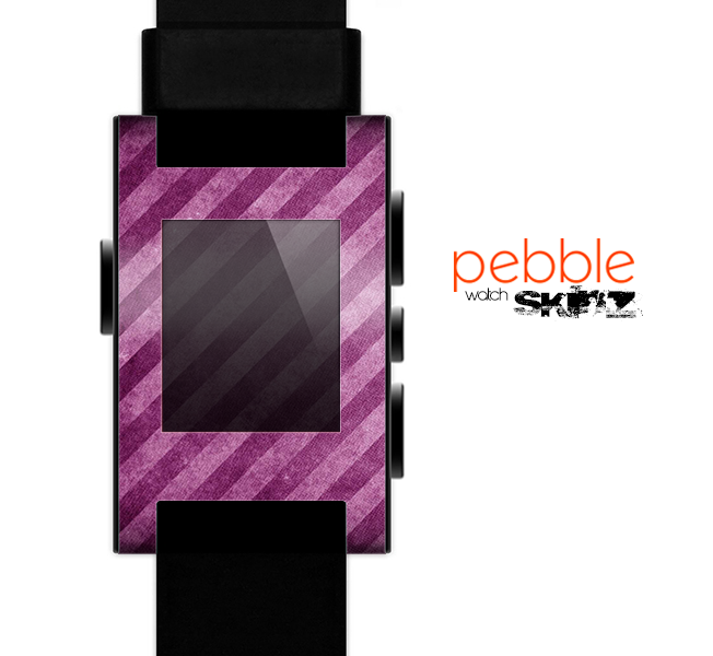 The Vector Grunge Purple Striped Skin for the Pebble SmartWatch