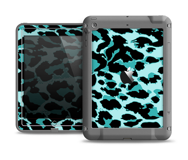 The Vector Hot Turquoise Cheetah Print Apple iPad Air LifeProof Fre Case Skin Set