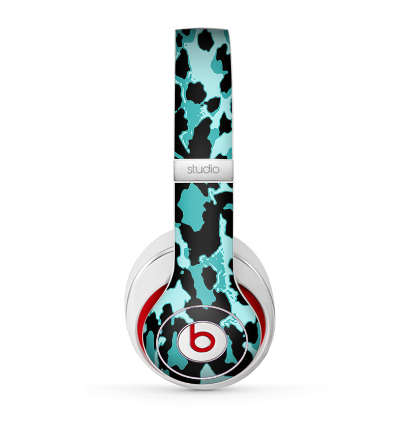 The Vector Hot Turquoise Cheetah Print Skin for the Beats by Dre Studio (2013+ Version) Headphones