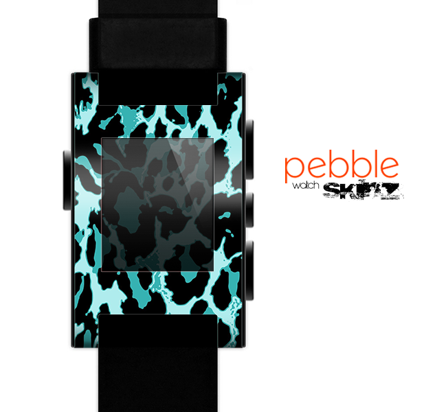 The Vector Hot Turquoise Cheetah Print Skin for the Pebble SmartWatch