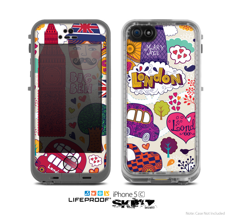 The Vector London England Sketchbook Skin for the Apple iPhone 5c LifeProof Case