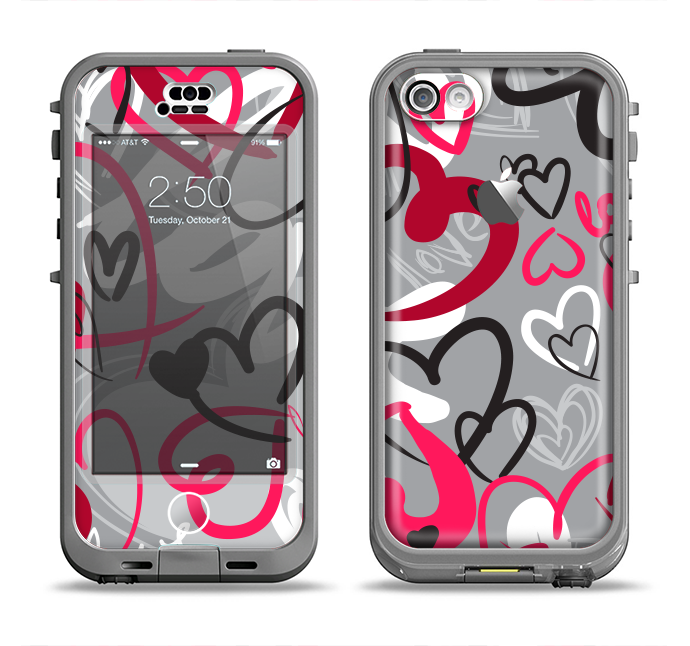 The Vector Love Hearts Collage Apple iPhone 5c LifeProof Nuud Case Skin Set