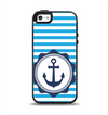 The Vector Navy Anchor with Blue Stripes Apple iPhone 5-5s Otterbox Symmetry Case Skin Set