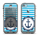 The Vector Navy Anchor with Blue Stripes Apple iPhone 5c LifeProof Nuud Case Skin Set