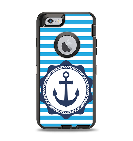 The Vector Navy Anchor with Blue Stripes Apple iPhone 6 Otterbox Defender Case Skin Set