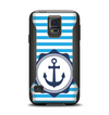 The Vector Navy Anchor with Blue Stripes Samsung Galaxy S5 Otterbox Commuter Case Skin Set