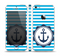 The Vector Navy Anchor with Blue Stripes Skin Set for the Apple iPhone 5
