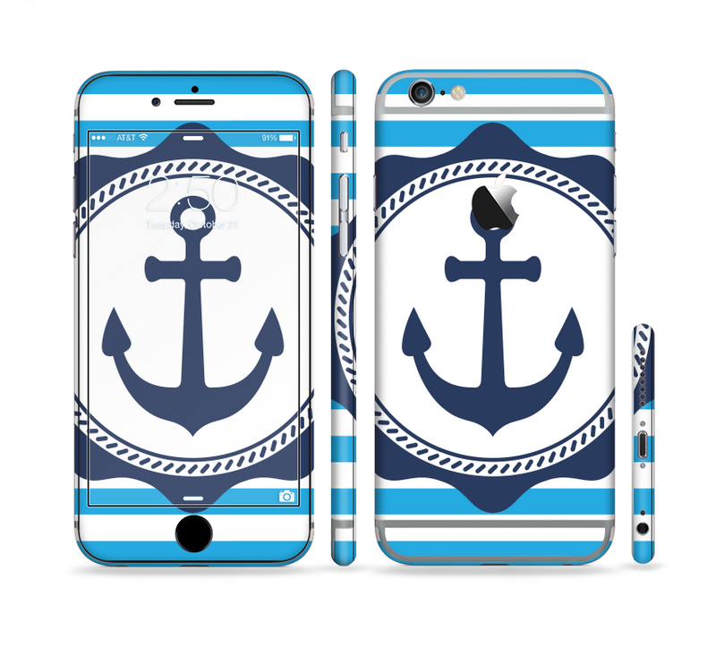 The Vector Navy Anchor with Blue Stripes Sectioned Skin Series for the Apple iPhone 6s