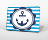 The Vector Navy Anchor with Blue Stripes Skin Set for the Apple MacBook Air 13""