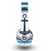 The Vector Navy Anchor with Blue Stripes Skin for the Original Beats by Dre Wireless Headphones