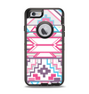 The Vector Pink & White Modern Aztec Pattern Apple iPhone 6 Otterbox Defender Case Skin Set
