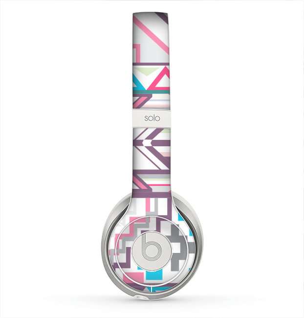 The Vector Pink & White Modern Aztec Pattern Skin for the Beats by Dre Solo 2 Headphones