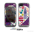 The Vector Purple Heart London Collage Skin for the Apple iPhone 5c LifeProof Case