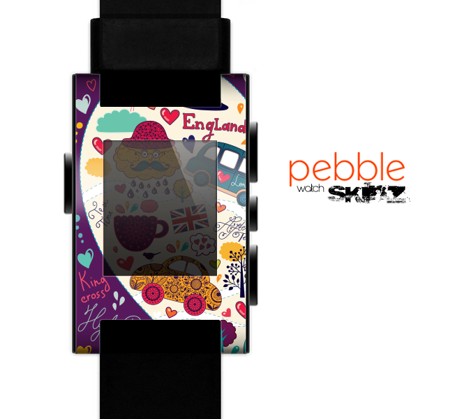 The Vector Purple Heart London Collage Skin for the Pebble SmartWatch