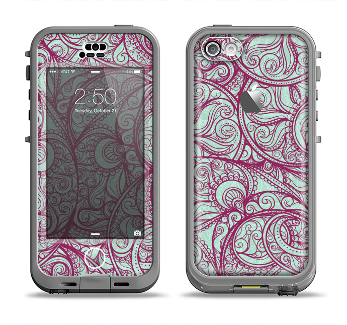 The Vector Purple Thin Laced Apple iPhone 5c LifeProof Nuud Case Skin Set
