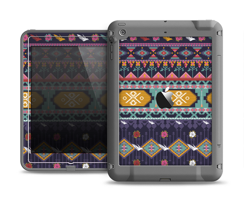 The Vector Purple and Colored Aztec pattern V4 Apple iPad Air LifeProof Fre Case Skin Set